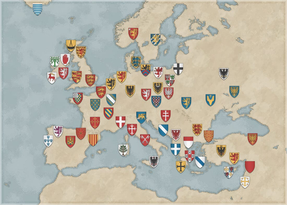 Map of Europe showing the arms of some medieval countries and provinces.