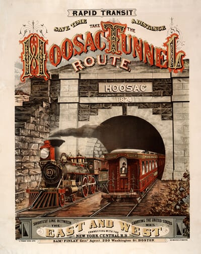 Chromolithographic poster advertising a train system in Boston.