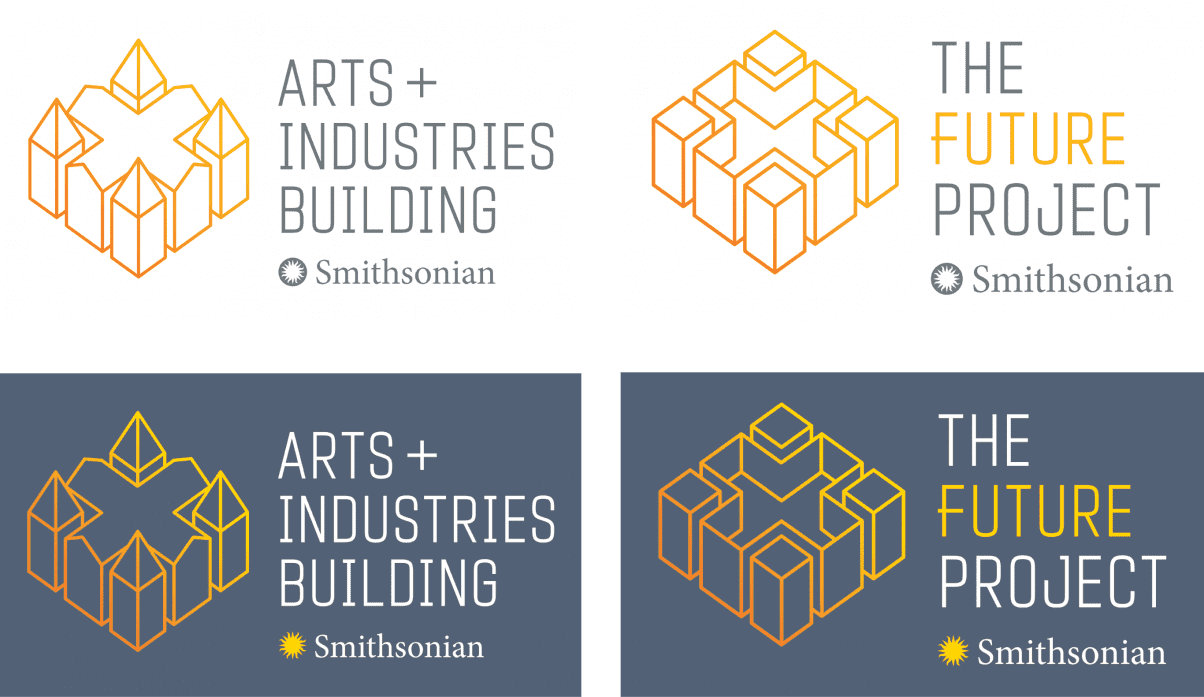 ARTS AND INDUSTRIES BUILDING AND THE FUTURE PROJECT LOGO DESIGN VARIATIONS